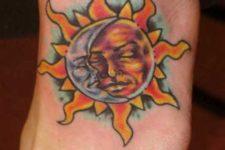Beautiful tattoo on the foot