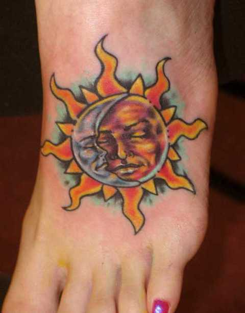 Beautiful tattoo on the foot