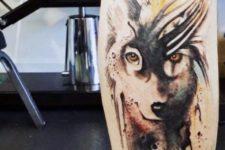 Beautiful wolf tattoo on the leg