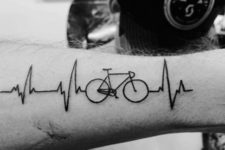 Bicycle with heartbeat tattoo