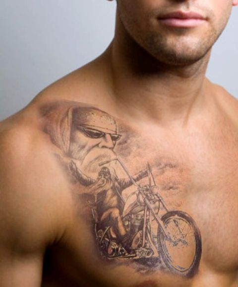 Bike tattoo on the chest
