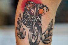 Bike tattoo on the leg
