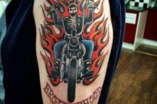 Biker and flame tattoo
