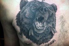 Black bear tattoo on the chest