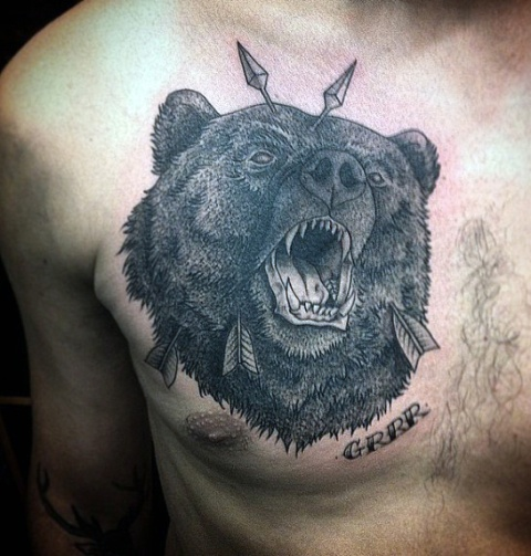 Black bear tattoo on the chest