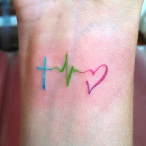 Blue, green and red heartbeat tattoo idea