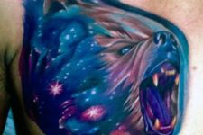 Blue, purple and pink bear tattoo