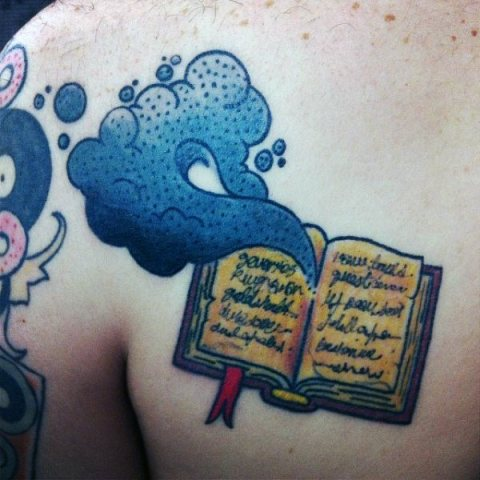 Blue smoke coming out of the book tattoo