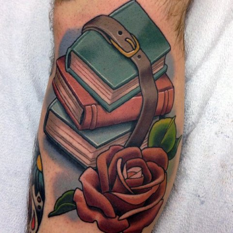 Books with rose tattoo