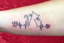 Cat and heartbeat tattoo on the arm
