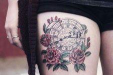 Clock tattoo idea on the thigh