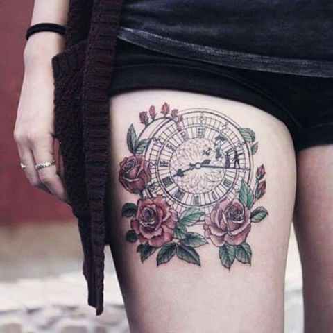 Clock tattoo idea on the thigh
