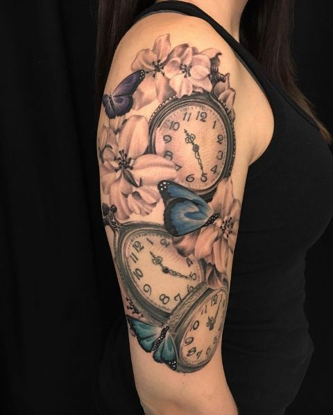 Picture Of Clock Tattoo With Pink Flowers And Blue Butterflies