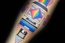 Colorful computer tattoo