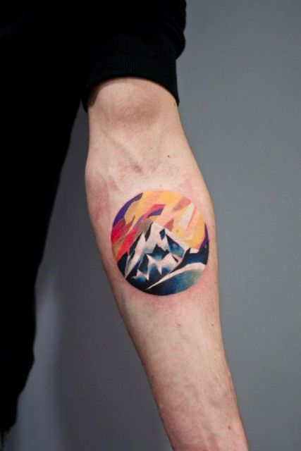 Colorful geometric tattoo