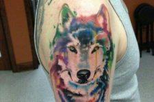 Colorful half-sleeve tattoo