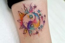 Colorful tattoo on the leg