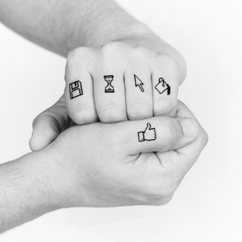 Computer icons tattoos on the fingers