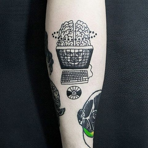 Computer tattoo on the hand