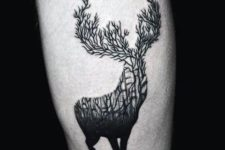 Creative deer tattoo on the leg