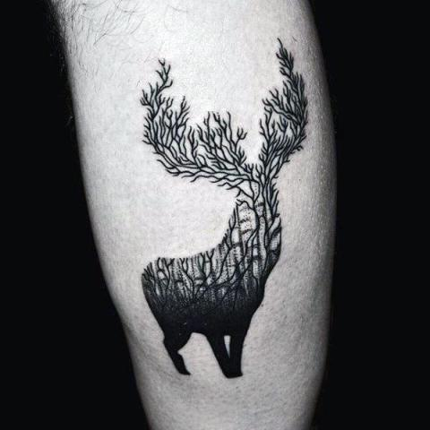 21 men deer tattoo ideas to try styleoholic for Deer antlers tattoo