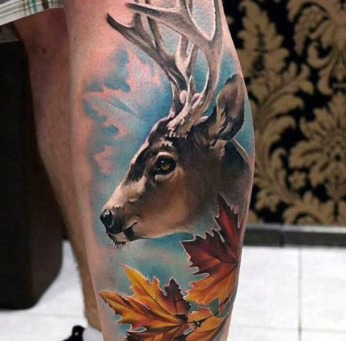 Deer and leaves tattoo