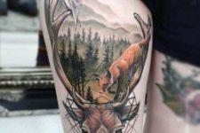 Deer, owl and fox tattoo