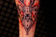 Deer with blue eyes tattoo