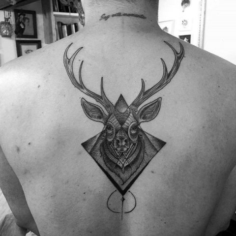 Geometric deer tattoo on the back