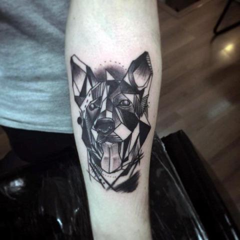 Geometric dog design tattoo on the arm