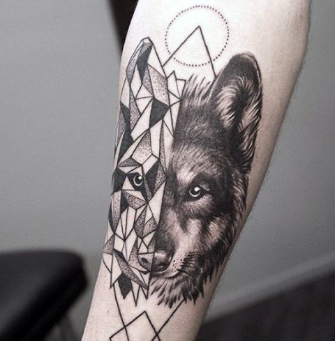 20 creative wolf tattoo ideas for men styleoholic. Black Bedroom Furniture Sets. Home Design Ideas