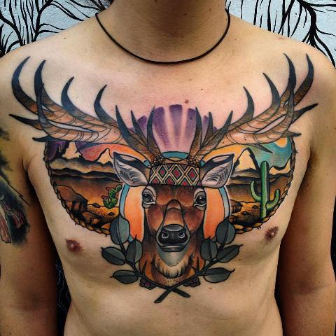 Gorgeous large tattoo on the chest