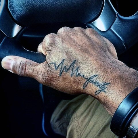 Heartbeat and family tattoo on the hand