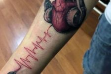 Heartbeat and heart with headphones tattoo
