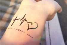Heartbeat tattoo on the wrist