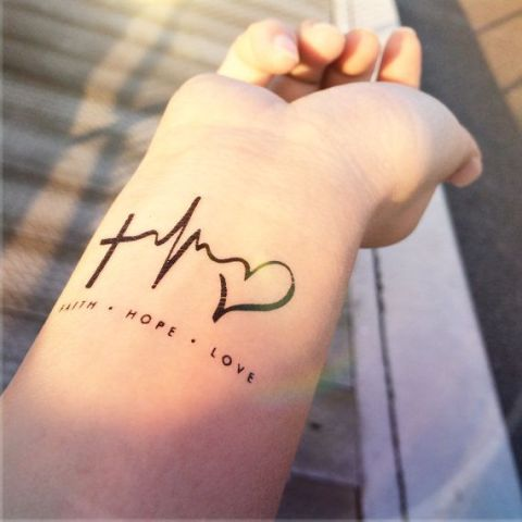 Heartbeat tattoo on the wrist