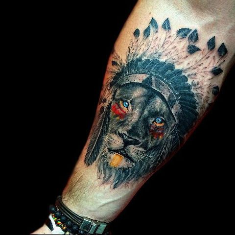 Lion as Injun tattoo