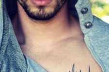 Minimalistic tattoo on the chest