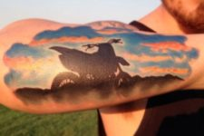 Motorcycle at sunset tattoo