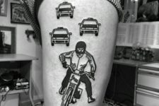 Motorcycle rider and cop cars tattoos on the leg