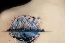 Mountain tattoo on the back