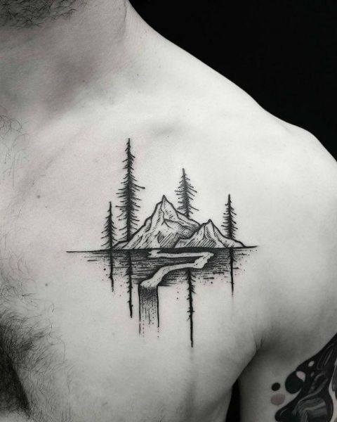 Mountain tattoo on the chest