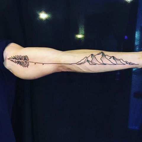 Mountain with feather tattoo on the arm