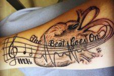 Musical and anatomical heartbeat tattoo
