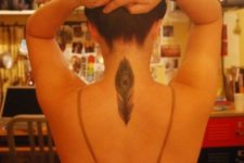 Peacock feather tattoo on the back and neck