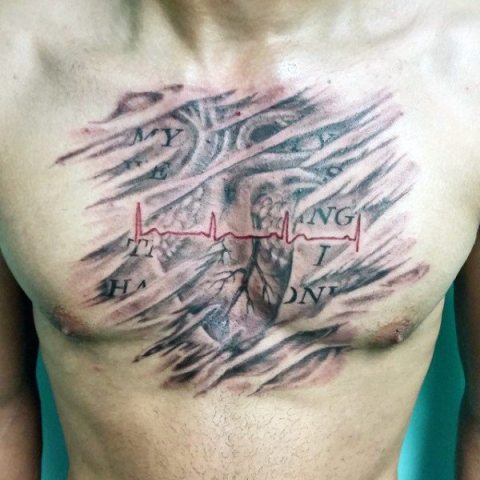 Realistic tattoo on the chest