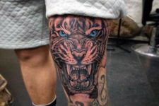 Realistic tattoo on the leg