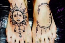 Sun and moon tattoos on the feet