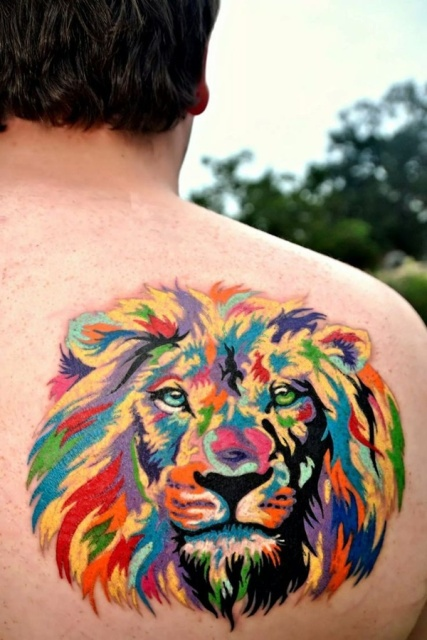 Super colorful tattoo on the back