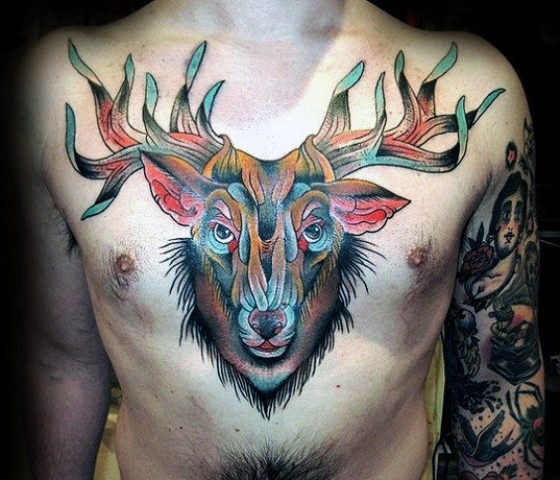 Super colorful tattoo on the chest